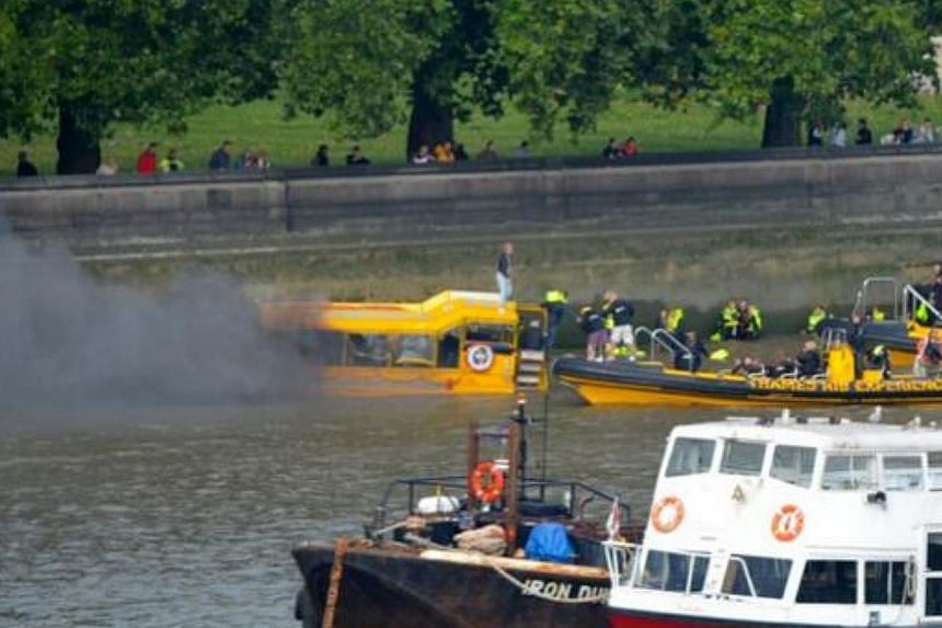 About 30 tourists cruising the River Thames on a Duck Tours boat found themselves in a dramatic rescue operation after the amphibian vessel caught fire just before noon on Sunday.-- TWITTER PHOTO: PHIL BEASLEY-HARLING