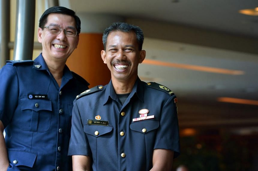 Chief Warder Yeo Sim Wui , 49, a Chief Personal Supervisor at the Singapore Prison Service; Junior Officer with 26 years of service and SWO2 Selamat bin Abdul Jalil, 49, a senior instructor, Urban Search and Rescue Specialist Branch, Specialist Train