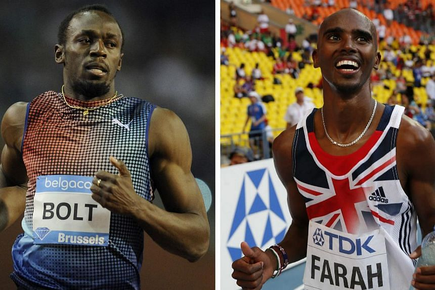 World and Olympic champions Usain Bolt of Jamaica (left) and Mohamed Farah of Britain have both been named among those on the 10-man shortlist for the IAAF 2013 World Athlete of the Year Award. -- FILE PHOTOS: AFP