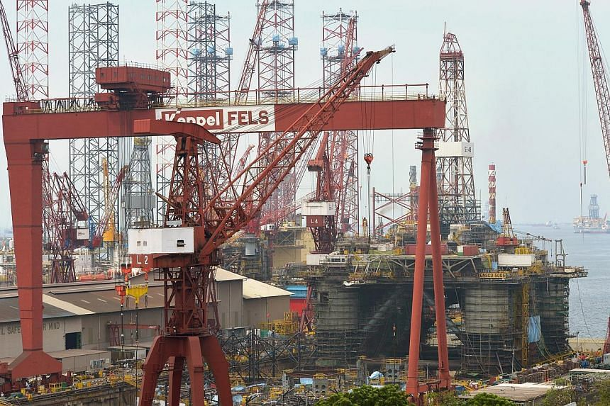 The Keppel FELS shipyard at Gul Road, where up to 60 per cent of the world's jack up rigs are built, on Sept 23, 2013. Two major Singapore marine and offshore service providers have clinched significant new orders. -- ST FILE PHOTO : ALPHONSUS CHERN&