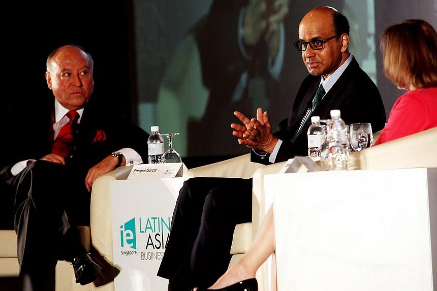 (From left) Mr Enrique Garcia, president and CEO, CAF (Development Bank of Latin America), Deputy Prime Minister Tharman Shanmugaratnam and president and CEO of the Americas Society and Council of the Americas Susan Segal. Emerging economic