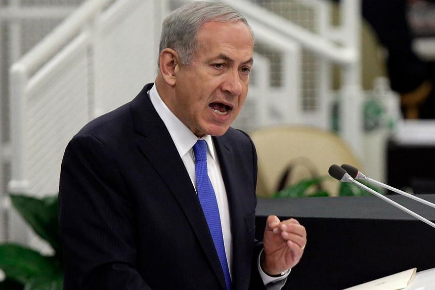 Israel's Prime Minister Benjamin Netanyahu addresses the 68th session of the United Nations General Assembly, Tuesday, Oct 1, 2013 at UN headquarters. Israel is ready to act alone to stop Iran making a nuclear bomb, Prime Minister Benjamin Netanyahu