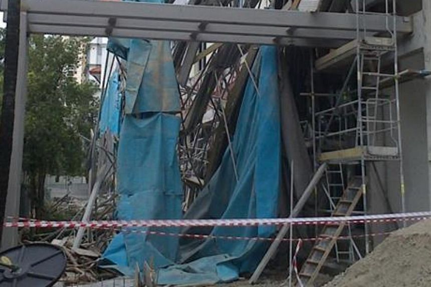 Seven workers were injured at a construction site along Braddell Road on Wednesday morning in the second worksite accident this week.-- PHOTO:MOHAMMED AFDHAL