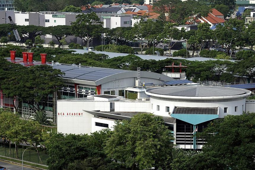 """This landmark building in Braddell Road employs ground-breaking design features while also harnessing the sun's energy to replenish the energy it uses for air-conditioning and other uses. The """"green"""" building boasts solar panels to provide energy f"""