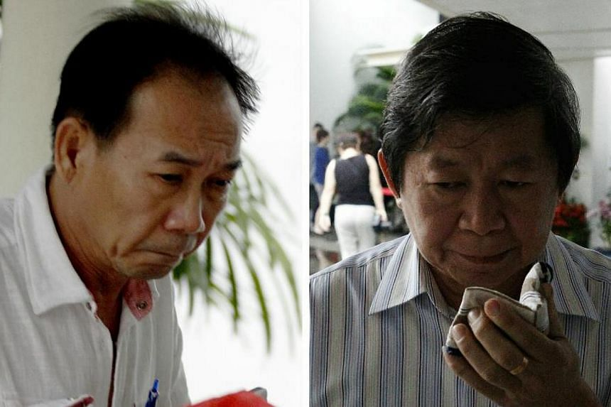 Ng Keng Siong (left), 56, and Ong Boon Hock, 61, were on Friday jailed 10 weeks each for engaging in commercial sex with a 17-year-old Chinese national who was forced by her pimp to work as a prostitute. -- ST PHOTOS: WONG KWAI CHOW