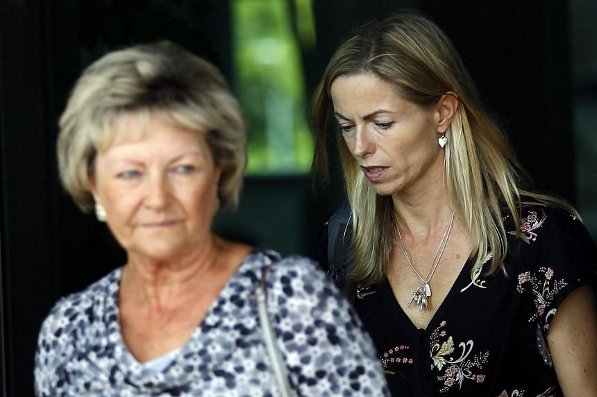 British woman Kate McCann (right) the mother of Madeleine McCann who disappeared in Algarve region, southern Portugal, in 2007, and her mother Susan Healy leave the civil court in Lisbon, Friday, Sept 13, 2013. British police said they were looking a