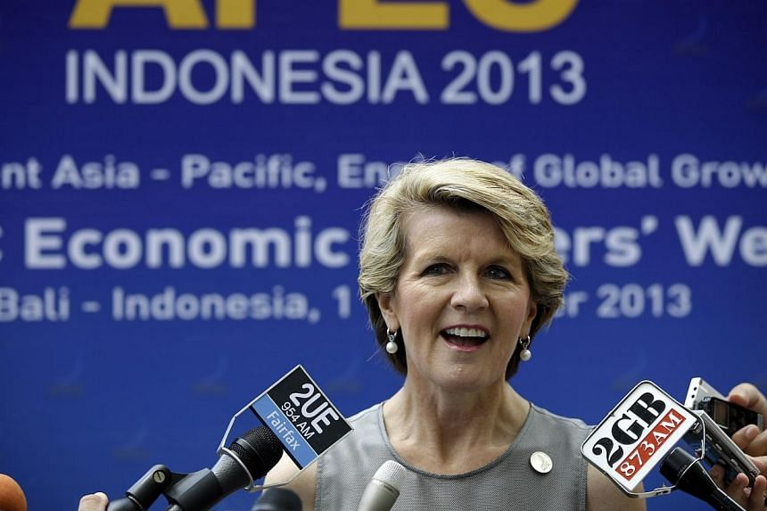Australian Foreign Minister Julie Bishopspeaks to reporters during the Asia-Pacific Economic Cooperation (Apec) ministerial meeting in Nusa Dua, Bali island on Saturday, Oct 5, 2013. MsBishop on Saturday expressed concern to Russia about