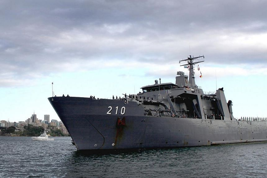 The Republic of Singapore Navy's (RSN) RSS Endeavour is one of more than 56 ships in Sydney, Australia for the International Fleet Review, the Defence Ministry said in a statement on Saturday.-- PHOTO:ROYAL AUSTRALIAN NAVY
