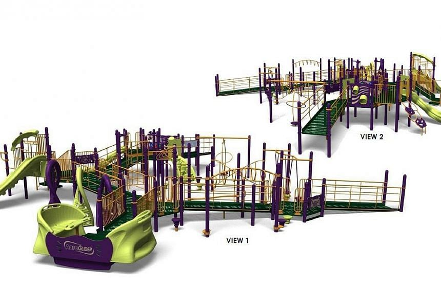 The playground will have wheelchair accessible ramps and transfer platforms, with AeroGlider, a rocking platform that allows two wheelchair users to sit side by side. -- PHOTO: CT-ART CREATION PTE LTD
