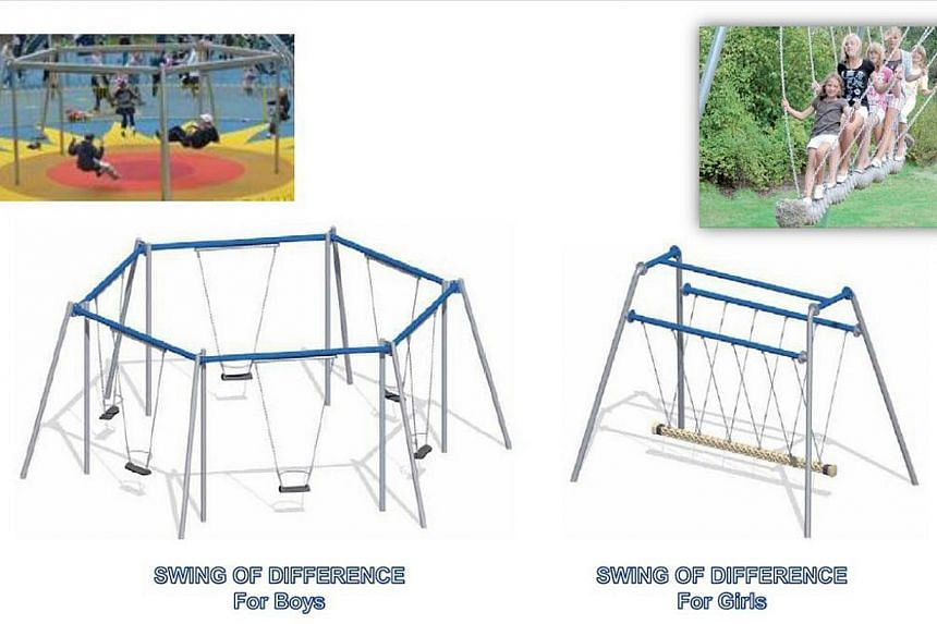 When the upgraded park is ready, its playground will not only have the largest swing system in Singapore but also feature swings that persons with disabilities will be able to use. -- PHOTO: CT-ART CREATION PTE LTD