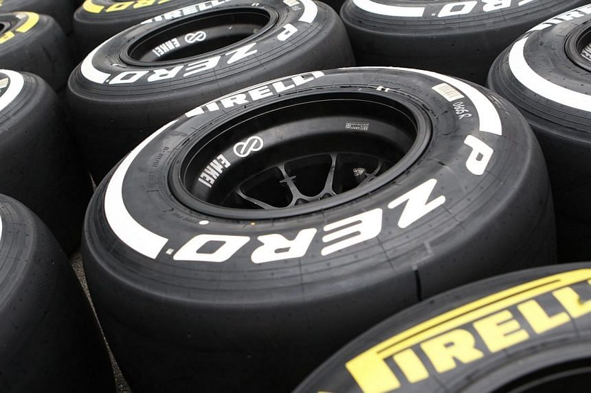 Pirelli tyres are pictured at the Hungaroring circuit in Mogyorod, near Budapest on July 25, 2013.Pirelli came under fire once more Sunday at the Korean Grand Prix, with Mark Webber lashing out at the tyre manufacturer and Sergio Perez warning