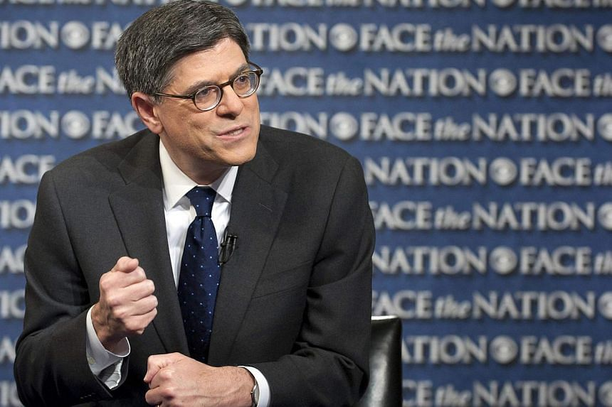 "US Treasury Secretary Jack Lew speaks with host Bob Schieffer on Face The Nation in Washington, in this photo courtesy of CBS News, taken Oct 6, 2013. Mr Lew warned of serious consequences ""if we were to have the unthinkable happen, to have the Unite"