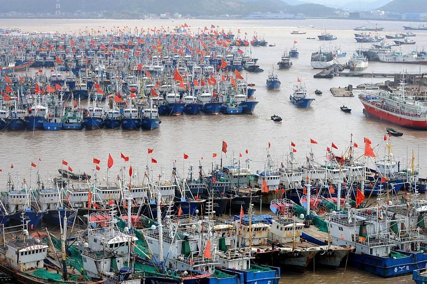 Fishing boats berth in Zhoushan port to avoid the powerful typhoon Fitow in Zhoushan, in east China's Zhejiang province on Oct 5, 2013. -- FILE PHOTO: AFP