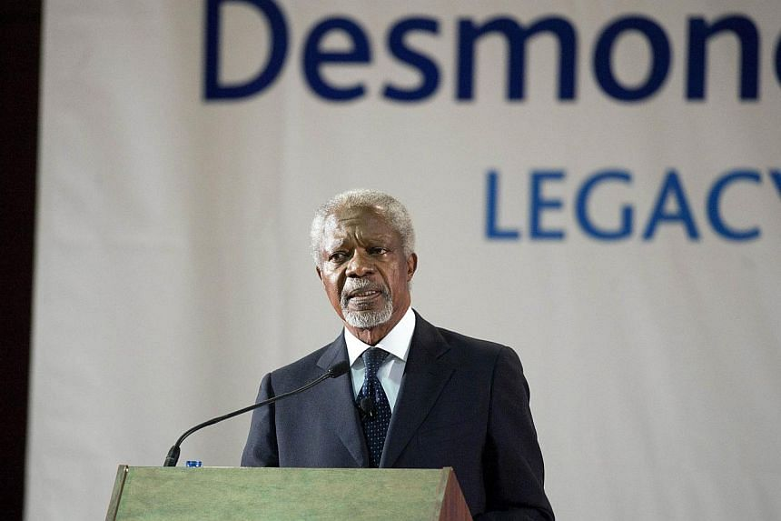 Kofi Annan, former Secretary General of the United Nations delivers the third annual Desmond Tutu International Peace Lecture, on 07 October 2013, at the University of the Western Cape, in Cape Town, as part of Tutu's 82nd Birthday celebrations.&nbsp