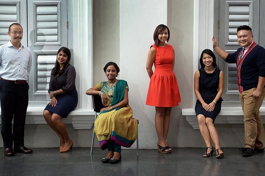 (From left) Mr Tan Wah Jiam, 40, from Hwa Chong Institution (College Section);Mrs Anne Kingsley-Lee, 36, from CHIJ St Theresa's Convent;Mrs Sangeetha Sivanesan, 31, from Da Qiao Primary School;Ms Laureen Toh, 30, from Catholic Junio