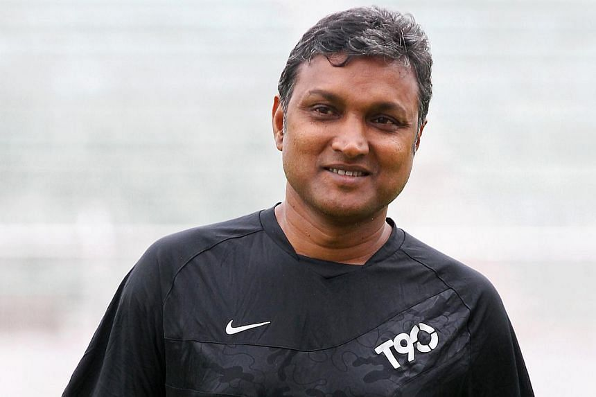 LionsXII coach V. Sundramoorthy at a training session at Selayang Stadium in Kuala Lumpur on Oct 3, 2013, prior to the Malaysia Cup second leg quarter-final match against ATM, held at Selayang Stadium on Oct 4. Sundramoorthy is among the football fav