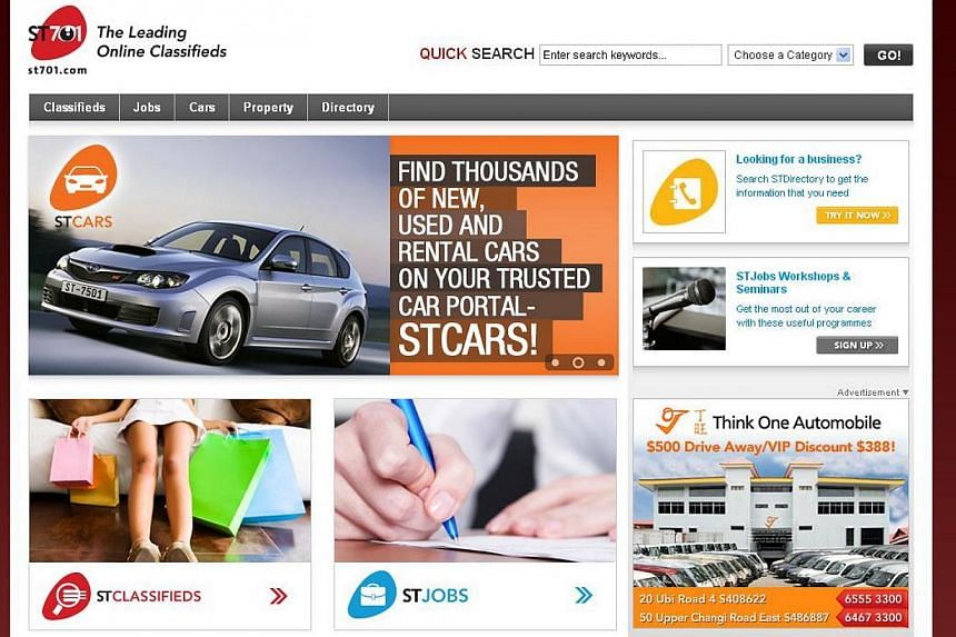 Singapore Press Holdings' classified ads portal ST701 bagged two awards in a major web competition called the W³ Awards, which honours creative excellence on the web. -- SCREEN GRAB: ST701.COM