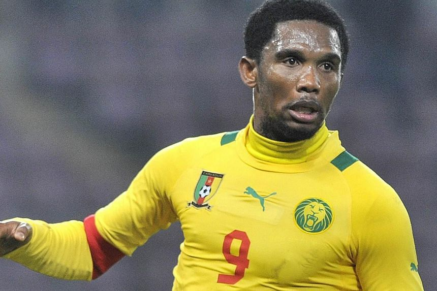 This file picture shows Cameroonian captain Samuel Eto'o running during a friendly football match Albania vs Cameroon on November 14, 2012 in Geneva. Eto'o, 32, told his team-mates on September 8, 2013, after Cameroon's victory against Lybia, that he