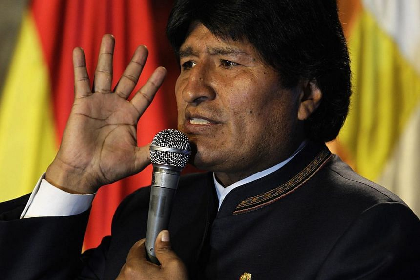 "Bolivia's President Evo Morales speaks during the presentation of ""Titicaca Project"" in La Paz, Oct 8, 2013. -- PHOTO: REUTERS"