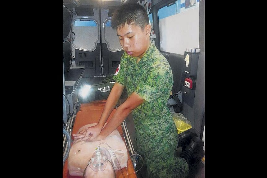 Pte Ong (pictured here practising CPR) sprang into action when he witnessed an accident on his way back to camp. He said the words of the SAF Medical Corps pledge moved him to help. -- PHOTO: SINGAPORE ARMY FACEBOOK PAGE