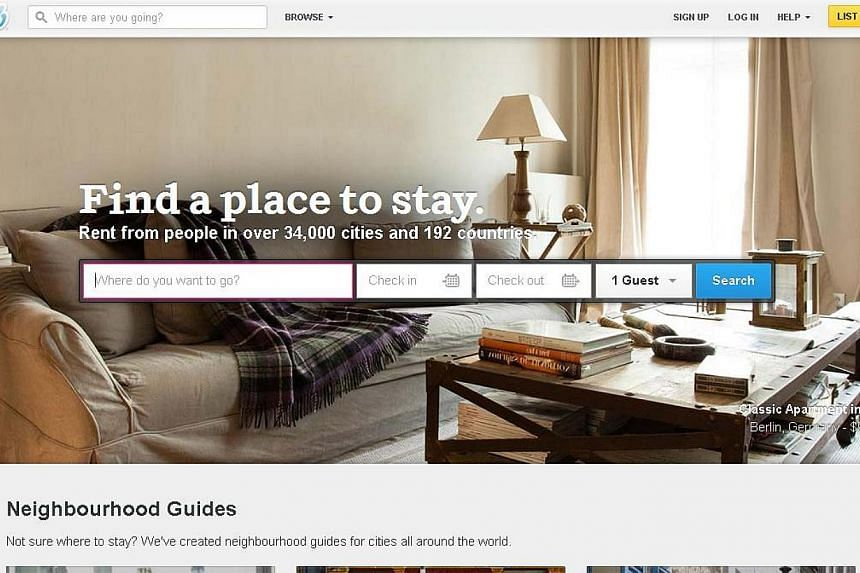 Airbnb, the room-rental service, went to court on Wednesday to block a subpoena from the New York Attorney General seeking information on more than 15,000 tenants who rent out their rooms on the popular website. -- PHOTO: SCREENGRAB OF WWW.AIRBNB.COM