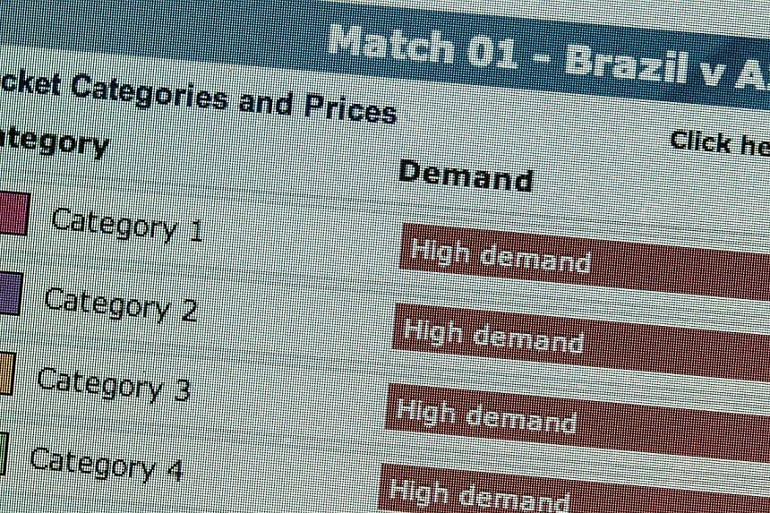 A screenshot from Fifa's ticket selling website shows high demands in all categories for the opening match ofFifa World Cup 2014 on Aug 20, 2013.More than six million requests for World Cup tickets were made during the first sales period