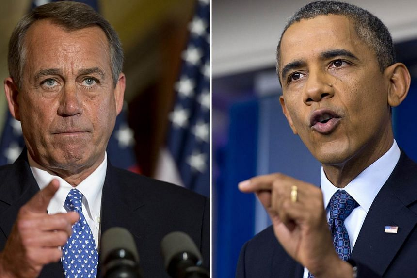 US Speaker of the House John Boehner (left) speaks at the US Capitol in Washington, DC, October 8, 2013, following a press conference by US President Barack Obama (right) at the White House as the crisis over a US government shutdown and debt c