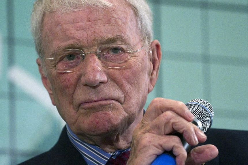 Astronaut Scott Carpenter listens to a question from the media about his experience in space, at the Kennedy Space Center in Cape Canaveral, Florida, on Feb 17, 2012. Mr Carpenter, the second American to orbit the Earth and one of the last surviving