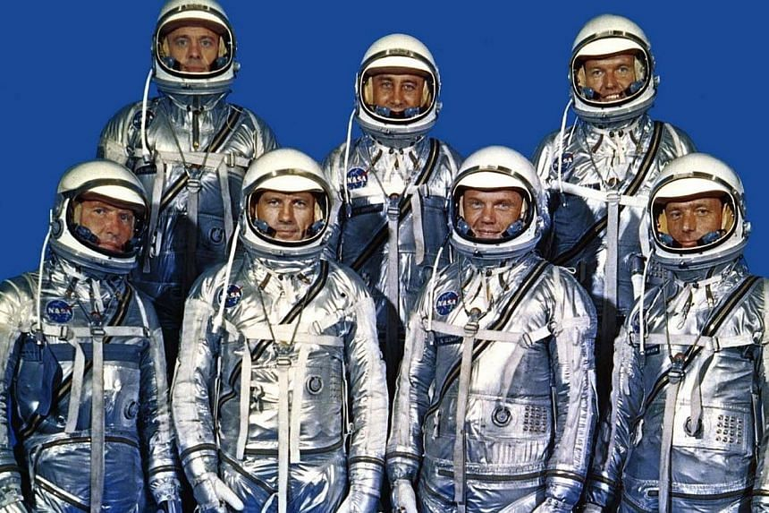 """The original seven Mercury astronaut pose at National Aeronautics and Space Administration - Langley Research Center in this undated Nasa handout file photo. Back row from left are: Alan Shepard, Virgil """"Gus"""" Grissom and L Gordon Cooper; front"""