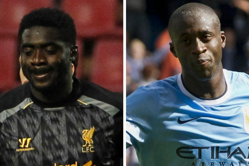 Brothers Kolo (left) and Yaya Toure are among 16 English Premier League footballers called up for 2014 World Cup play-offs in Africa this weekend. -- FILE PHOTOS:REUTERS, AP