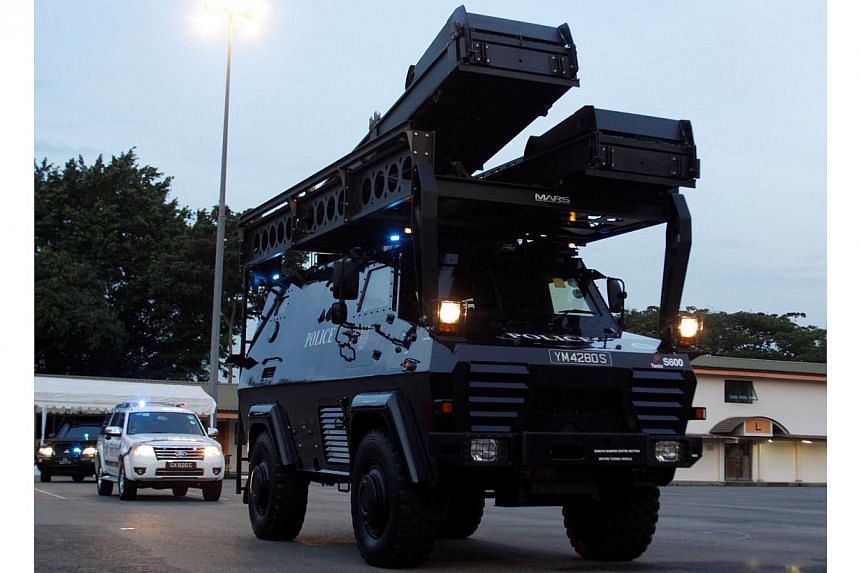 Armoured Personnel Carrier in the mobile column drive pass. -- PHOTO: SINGAPORE POLICE FORCE