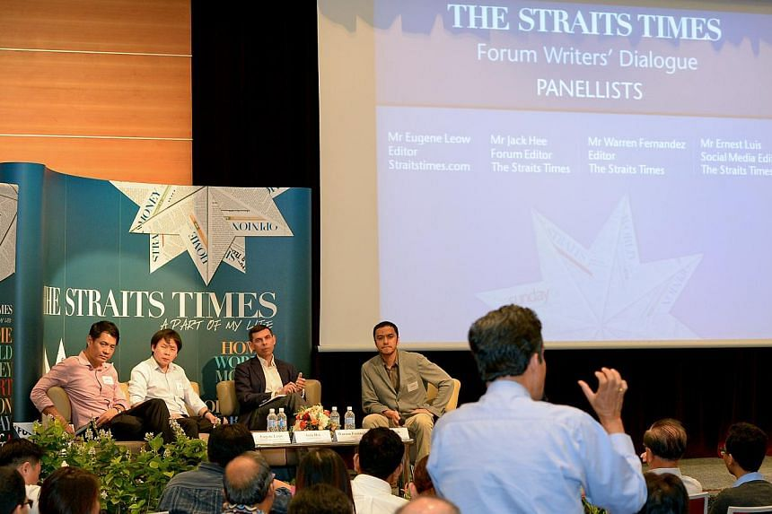 (Onstage, from left) Straitstimes.com editor Eugene Leow,Forum editor Jack Hee, Straits Times editor Warren Fernandez andsocial media editor Ernest Luislisten to a guest at ST's11th annual gathering for its Forum letter writer