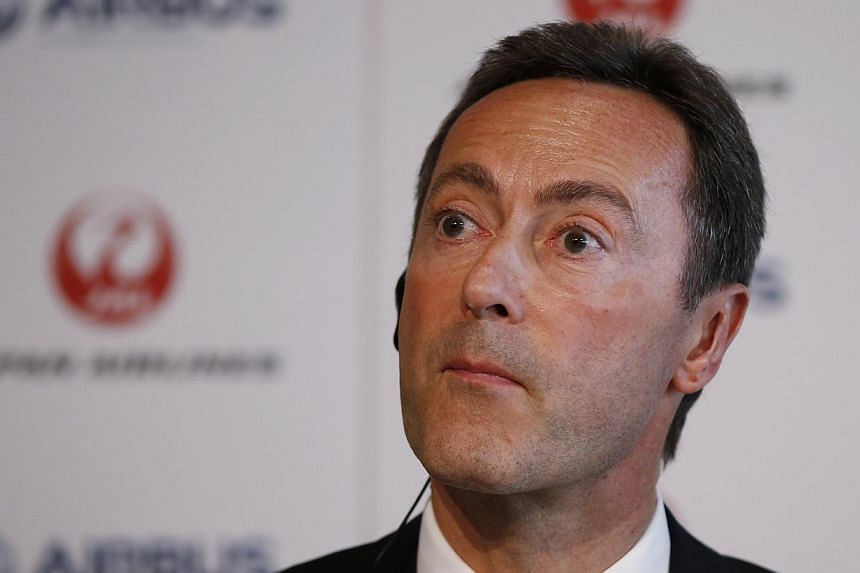 Airbus Chief Executive Fabrice Bregier attends a joint news conference with Japan Airlines President Yoshiharu Ueki (not pictured) in Tokyo Oct 7, 2013. Mr Bregier says the European planemaker will overtake its US rival Boeing to become the world's b