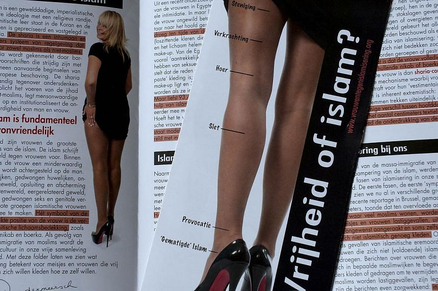 A photo taken on Sept 26, 2013, in Antwerp shows a campaign leaflet of the Belgian Flemish far-right Vlaams Belang party, featuring Senator Anke Van Dermeersch. Luxury shoe designer Christian Louboutin has won his battle to stop an anti-Islam ad