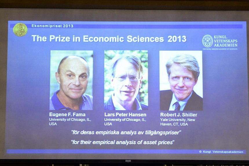 Images of Eugene Fama, Lars Peter Hansen and Robert Shiller, the Nobel laureates in Economic Sciences 2013, are displayed at the Royal Swedish Academy of Sciences, Stockholm, on Monday, Oct 14, 2013. Prof Fama, Prof Hansen and Prof Shillerwon t