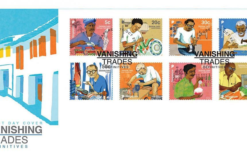 Postal service provider SingPost will release a new set of stamps bearing designs of vanishing local trades from old Singapore on Wednesday, Oct 16, 2013. The designs include (from top left): kacang puteh seller, lantern maker, songkok maker, goldsmi