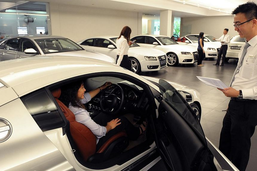 Audi agent Premium Automobiles' used car showroom at 6, Kung Chong Road on Feb 6, 2012. Retailers in Singapore saw their takings fall 7.8 per cent in August over a year ago, dragged down by slow car sales. -- PHOTO: SPH