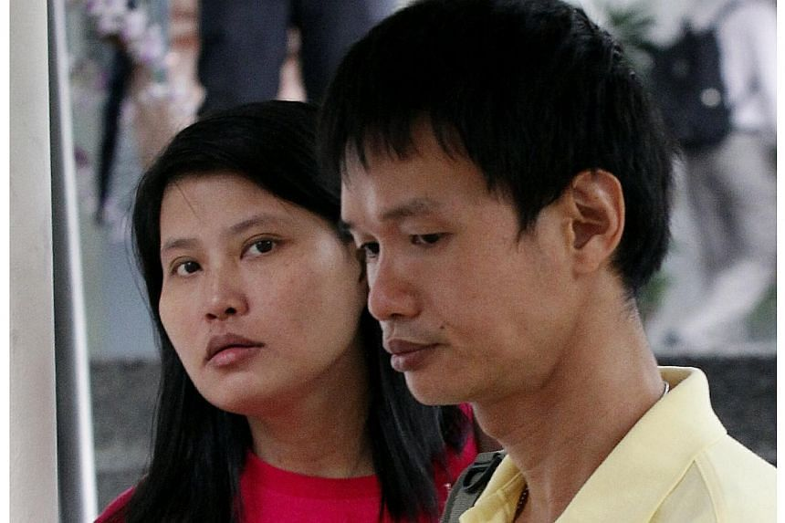 Ng Choon Meng and his wife Lau Kin Kee dumped soya sauce, chilli sauce and rubbish on a neighbour's car in an attempt to force him to change his parking space. -- ST PHOTO: WONG KWAI CHOW