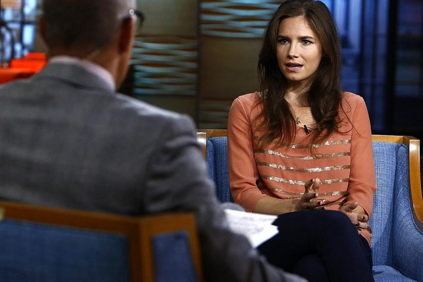 Amanda Knox, appearing on NBC News' Today show, speaks with host Matt Lauer (left) in New York, in this image released by NBC on Sept 20, 2013. Knox, the American student facing retrial for the murder of her British roommate in 2007, said on Tuesday