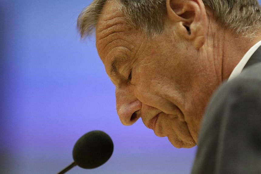 In this Friday, Aug. 23, 2013 file photo, San Diego Mayor Bob Filner speaks after agreeing to resign at a city council meeting in San Diego. San Diego's ex-mayor, who resigned amid a wave of sexual harassment complaints, has pleaded guilty to ab