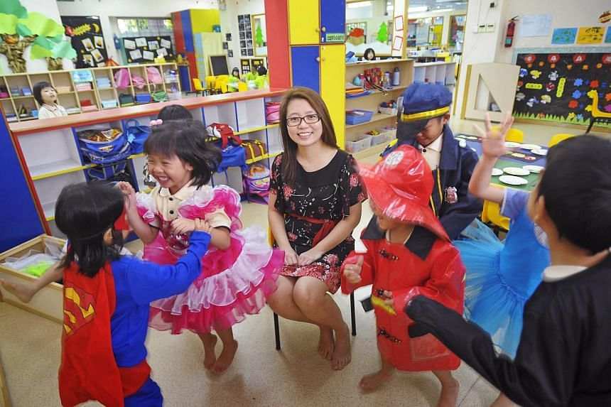 Just Kids Learning Place's director Lurvin Lee at the chain's Taman Jurong Shopping Centre branch. The childcare chain has not been able to find a suitable site for new centres in the past two years due to competition among operators for space to