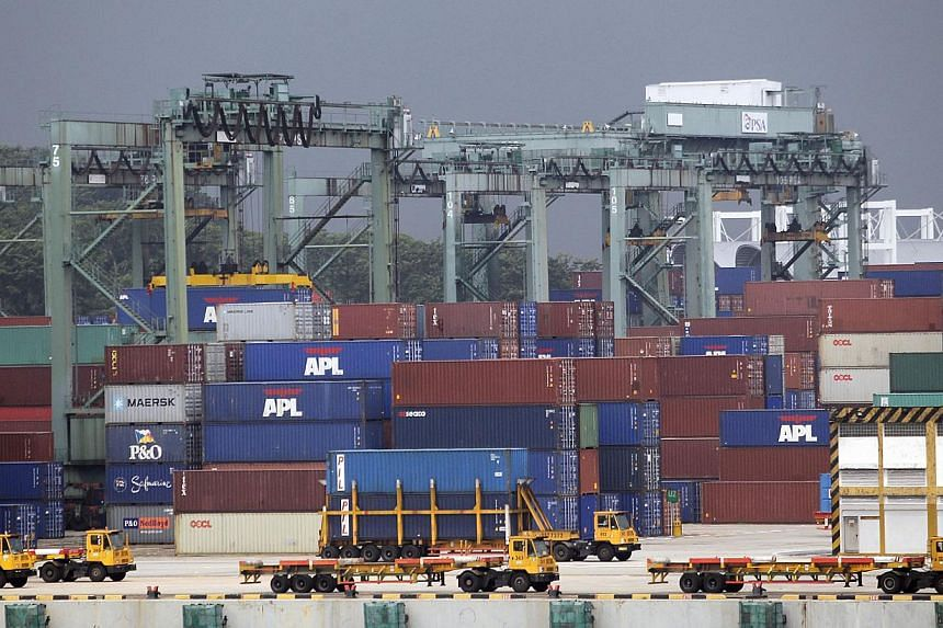 Containers at PSA in a photograph taken on Aug 27, 2012. Singapore's non-oil domestic exports (Nodx) dipped 1.2 per cent in Sept, dragged down by electronic exports which outweighed the expansion in non-electronic shipments. -- ST FILE PHOTO: KEVIN L