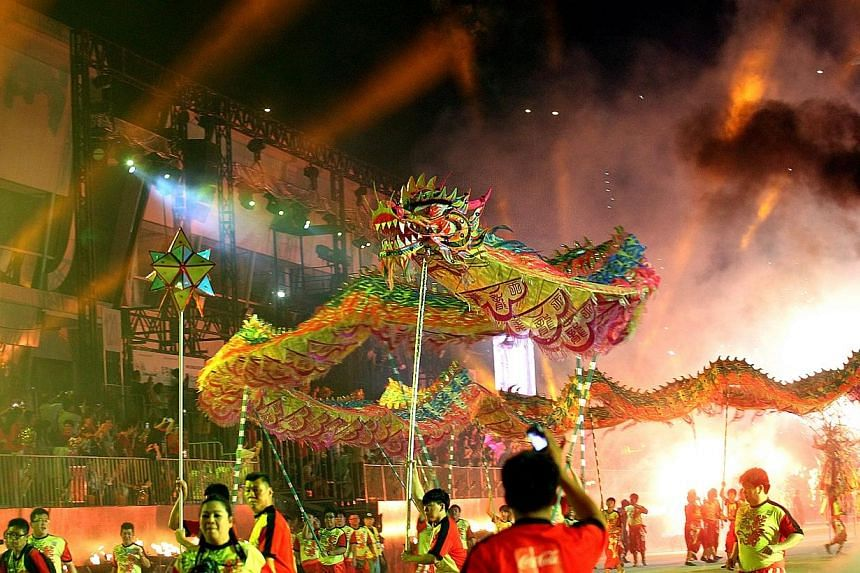 The Towering Dragon Dance, presented by the Singapore Dragon and Lion Athletic Association, at Chingay 2013.Next year's Chingay parade is poised to be one with many firsts, including a contingent of about 30 giant puppets, a community drama per