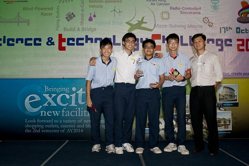Secondary Three student Jerome Goh, together with his three schoolmates from North Vista Secondary, built a wind-powered model race car and clinched the top prize in their category at the Science & Technology Challenge held at Nanyang Polytechnic