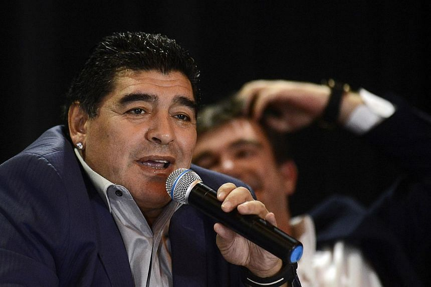 Former Argentinian football star Diego Maradona speaks during a press conference in Sao Paulo, Brazil, on Sept 4, 2013. Argentine football legend Diego Maradona said he would like to succeed Napoli coach Rafael Benitez while calling on Italy to