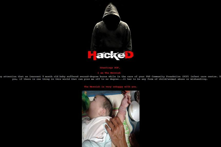 A screenshot of the website, which was hacked by someone who goes by the moniker ''The Messiah''. -- PHOTO: PCF