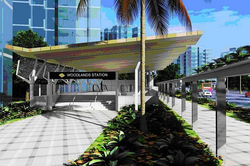An artist impression of Woodlands Station. The Land Transport Authority has awarded four contracts amounting to $1.04 billion for three stations, including Woodlands, and a depot along the upcoming Thomson Line. -- PHOTO: LTA