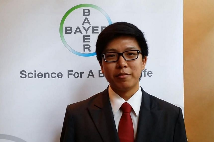 Four students, including Temasek Polytechnic chemical engineering student Kevin Lee (above), clinched the top prize at the Bayer Young Environmental Envoy education programme. -- SCREENGRAB: YOUTUBE