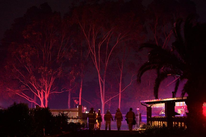 Firefighters walk past trees illuminated by their firetruck as they work to put out a bush fire that erupted in Sydney's western suburb of Castlereagh, New South Wales on Sept 10, 2013. -- PHOTO: AFP