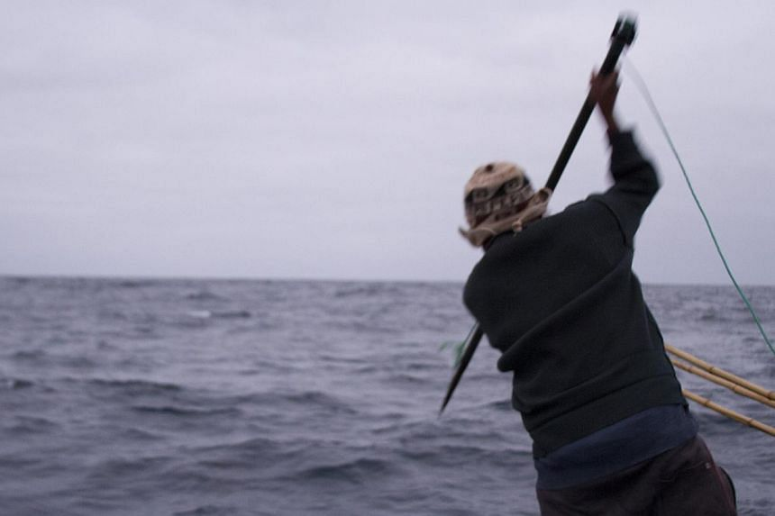 A fisherman prepares to throw a harpoon at a dolphin, on a ship's deck in Lima's southern coast, in this Sept 18, 2013 handout photograph provided by Mundo Azul. Peru has dramatically increased its sales of shark fins to Asia, triggering the slaughte